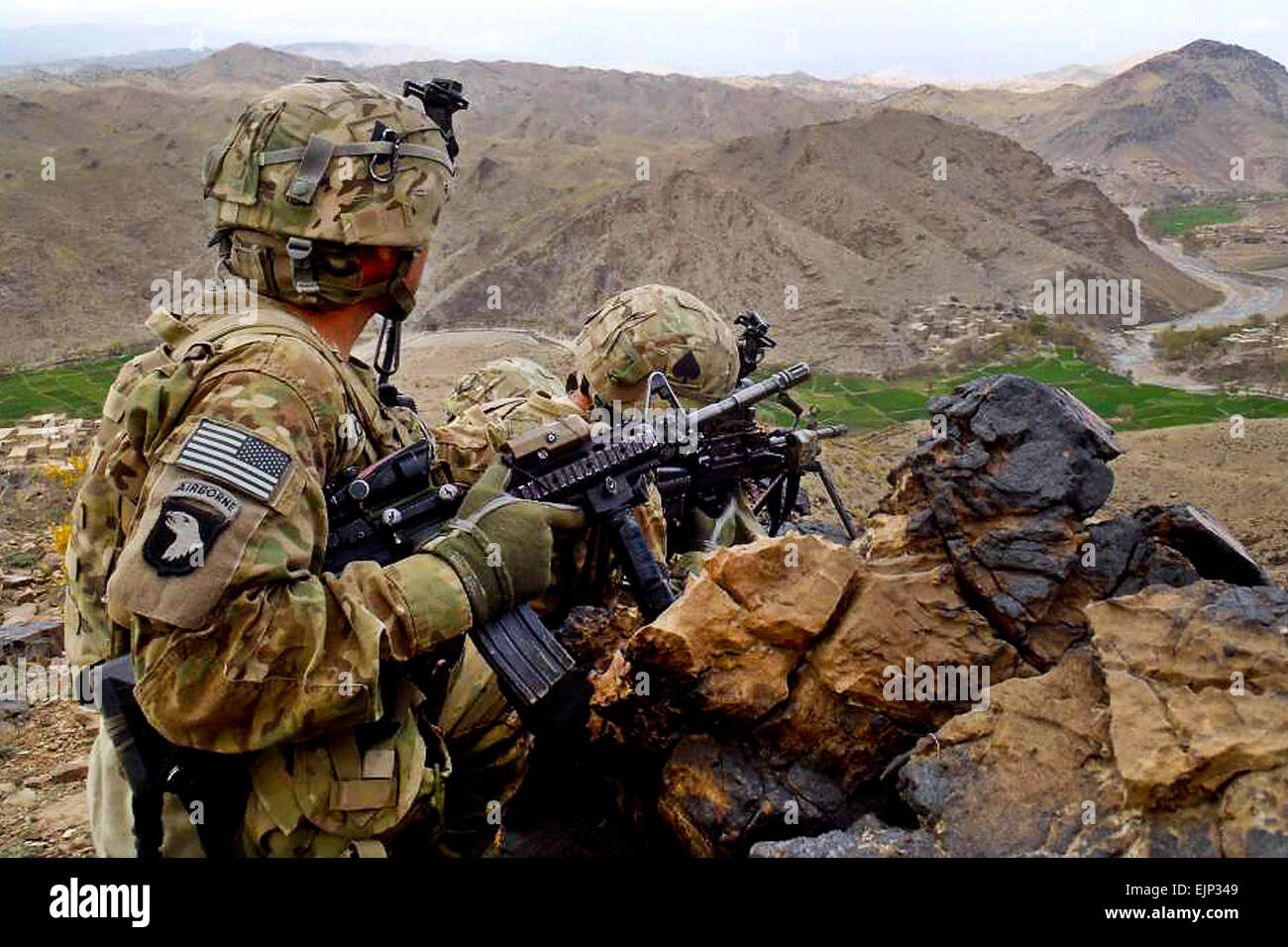 Soldiers from Company C, 1st Battalion, 506th Infantry Regiment, 4th Brigade Combat Team, 101st Airborne Division, - Stock Image