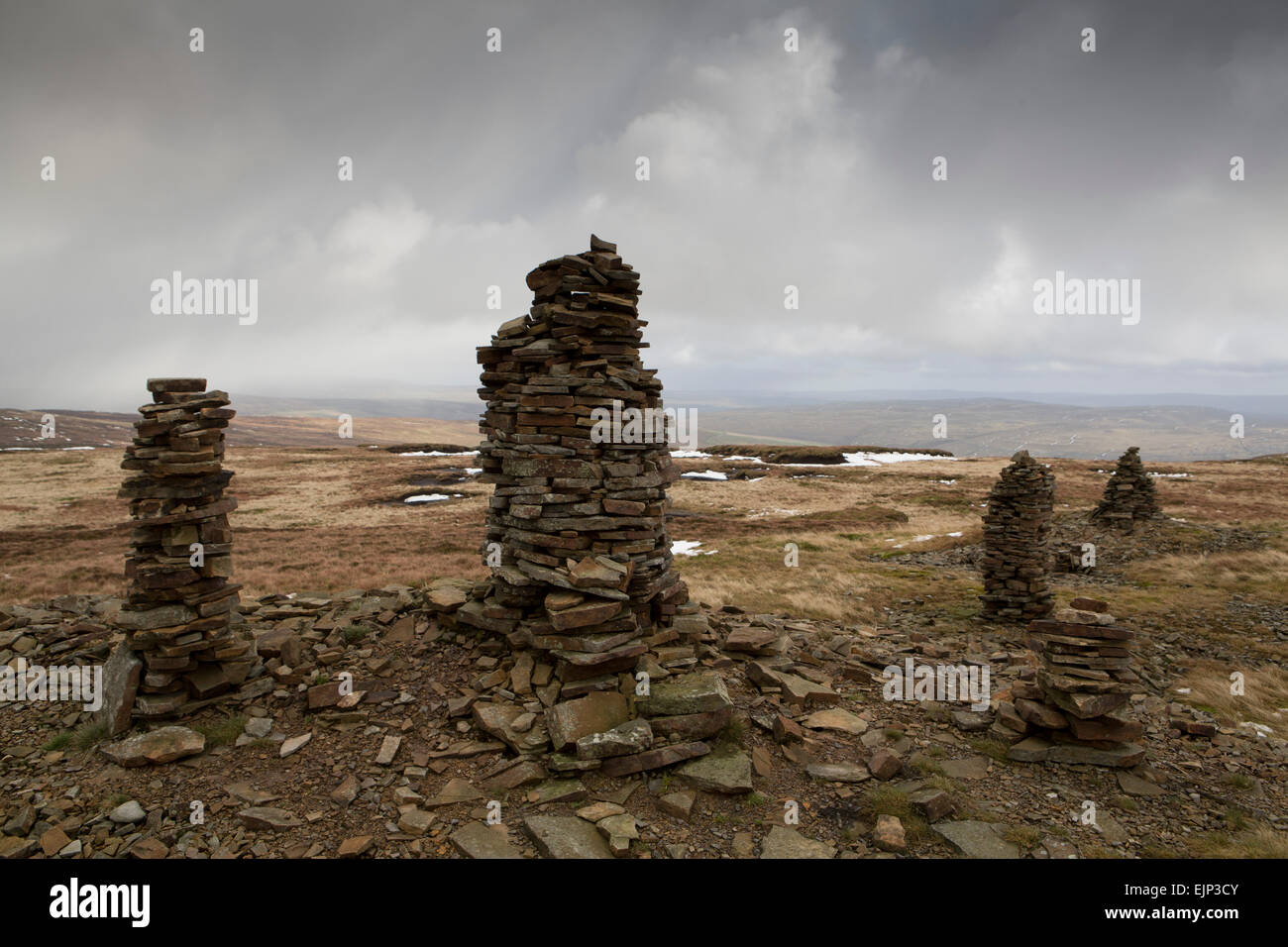 Summit of Fountains Fell in the Yorkshire Dales , UK - Stock Image