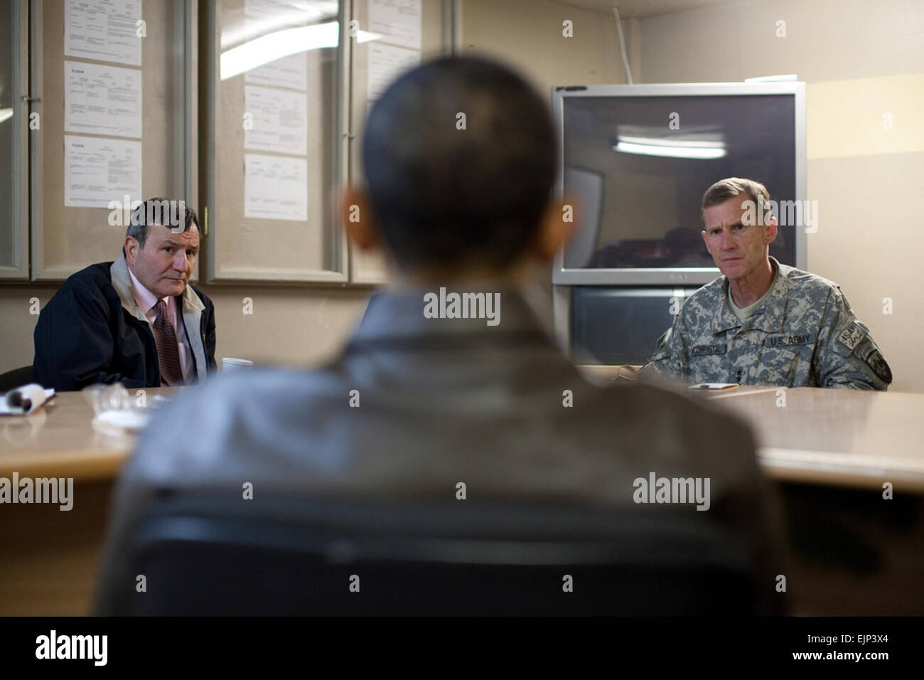 U.S. President Barack Obama meets with U.S. Ambassador to Afghanistan Karl Eikenberry, left, and Army Gen. Stanley - Stock Image