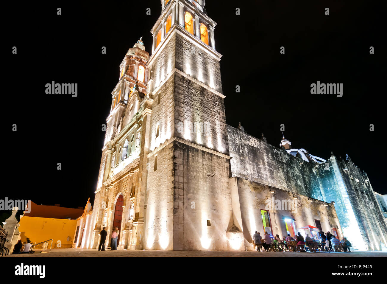 night view of main square and Cathedral in Campeche, Mexico. Stock Photo