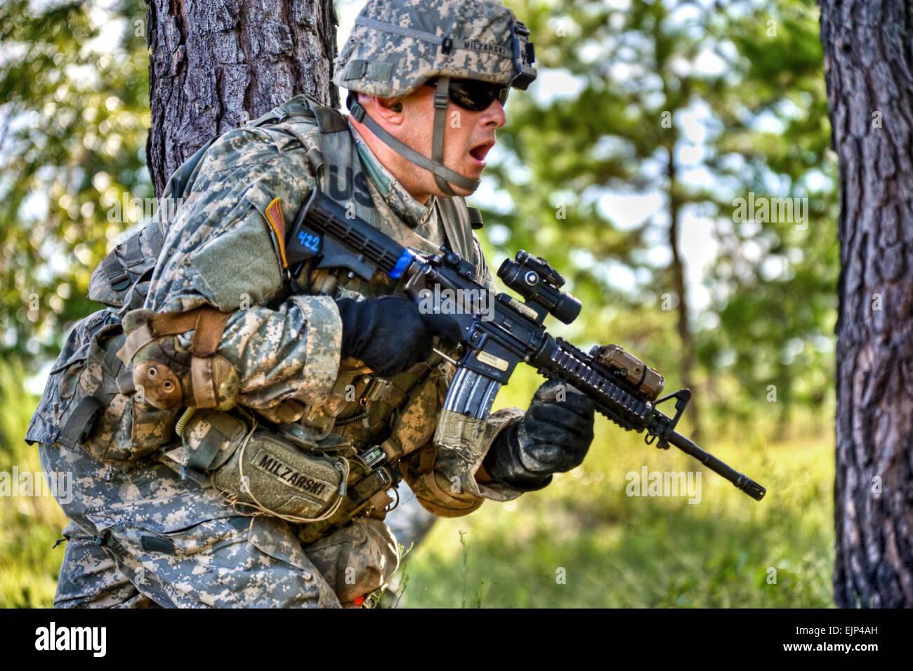 U.S. Army Live fire training at Galloway Range, Fort Benning, GA.  C Co 2nd Btn 11 Infantry Regiment.  John D. Helms Stock Photo