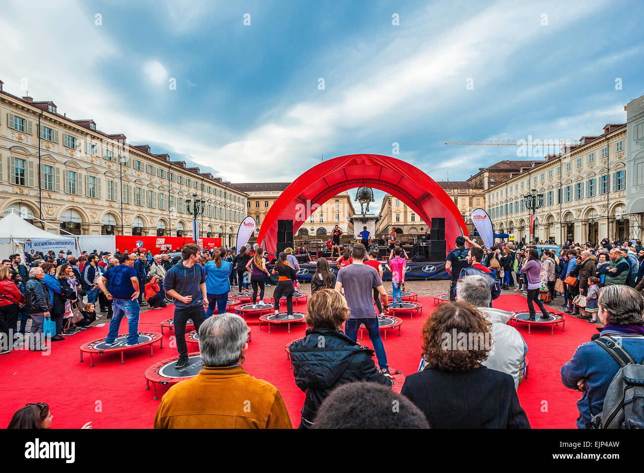 Italy Piedmont Turin San Carlo square .Gymnastics in the square - Stock Image