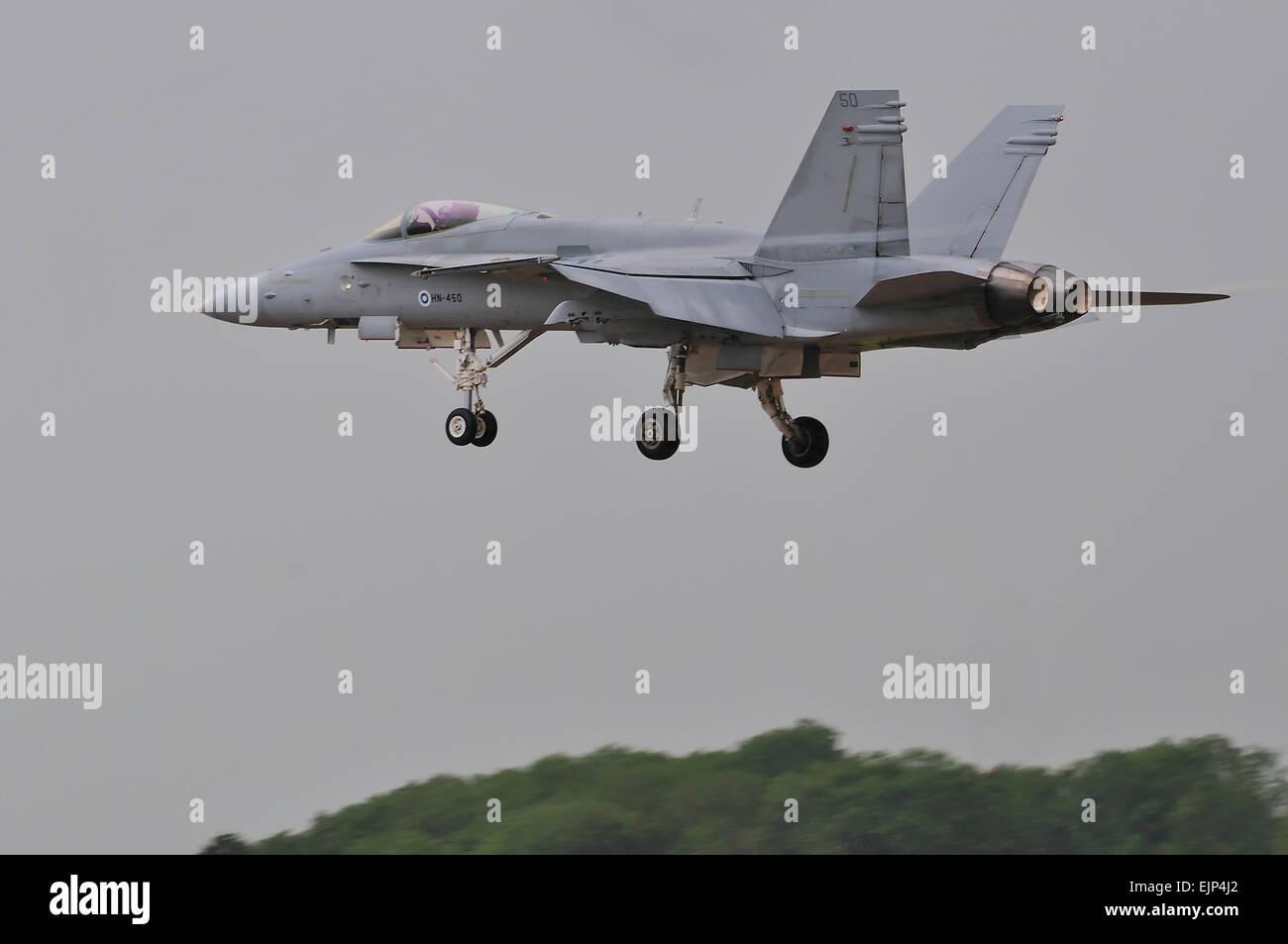 Finnish Air Force, McDonnell Douglas, F/A-18C Hornet,HN-450, RIAT, RAF, Fairford, UK, - Stock Image