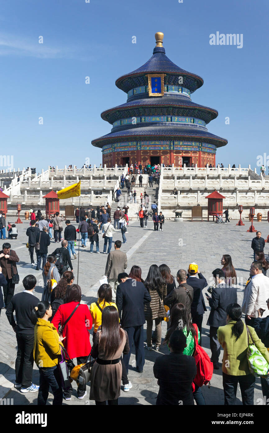 China, Beijing, Temple of Heaven (Tian Tan), UNESCO World Heritage site, Hall of Prayer for Good Harvests - Stock Image