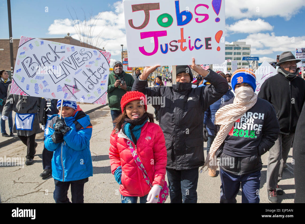 Detroit residents march for racial justice. - Stock Image