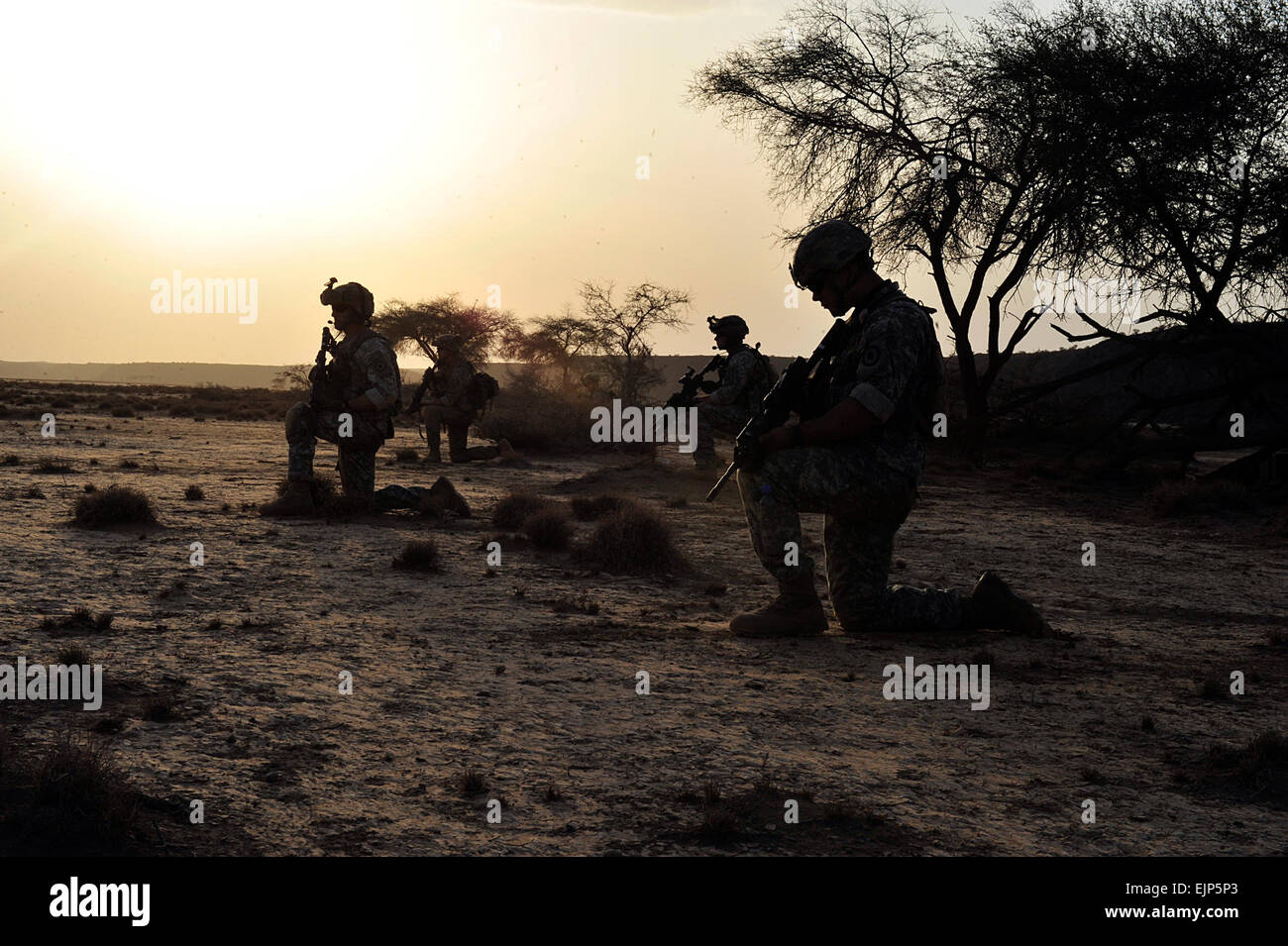 From left, U.S. Army Sgt. Shaun O'Brien, Specialists Brandon Yenney, Orin McMahan, Bronson Shipman and Isaac Leihy, - Stock Image