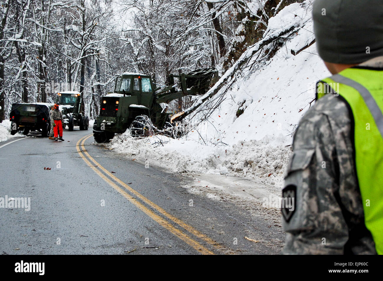 Soldiers of the West Virginia Army National Guard assigned to 821st Engineering Company from Summersville, W.Va., Stock Photo