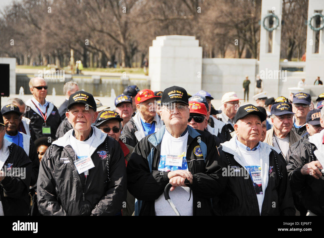 About 250 veterans gather at the World War II Memorial, March 11, 2010, as producers Stephen Spielberg and Tom Hanks - Stock Image