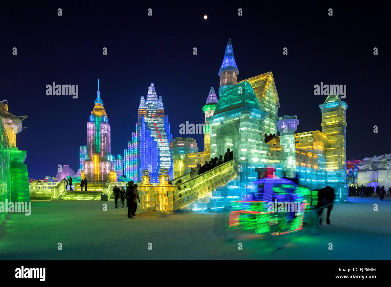 Spectacular illuminated ice sculptures, Harbin Ice and Snow Festival, Heilongjiang Province, China Stock Photo