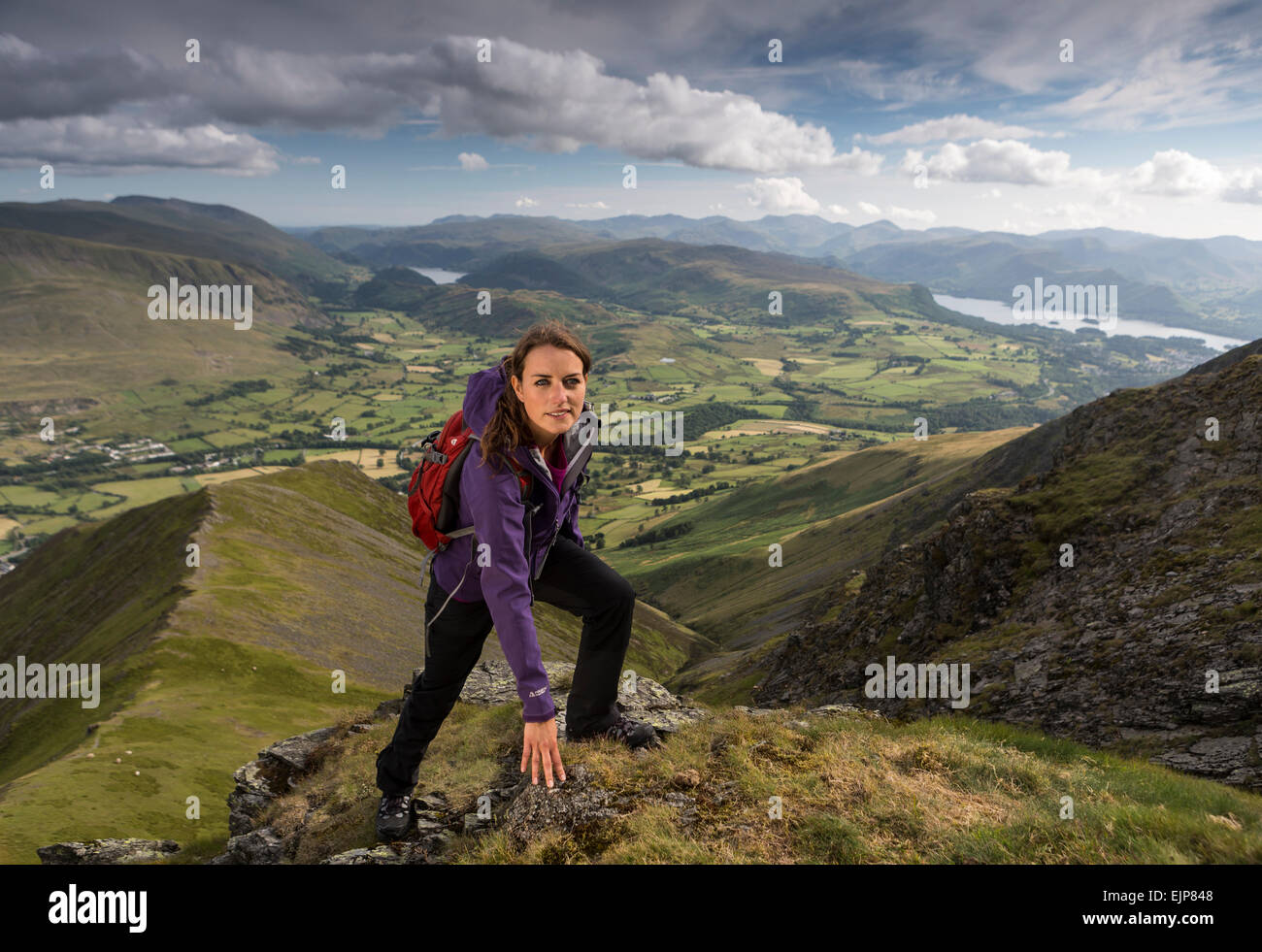 June 2014 - The Lake District , Cumbria - Cover shoot for WALK Magazine on Halls Fell Ridge  and area - Stock Image