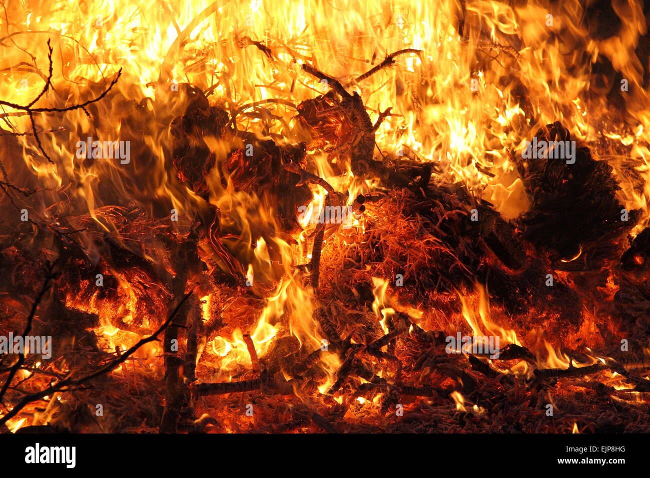blazing fire close-up - Stock Image