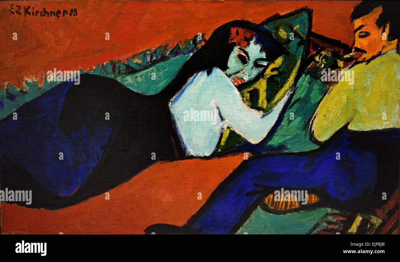 Reclining Woman ( Conversation ) 1911 Ernst Ludwig Kirchner 1880-1938 German Germany - Stock Image