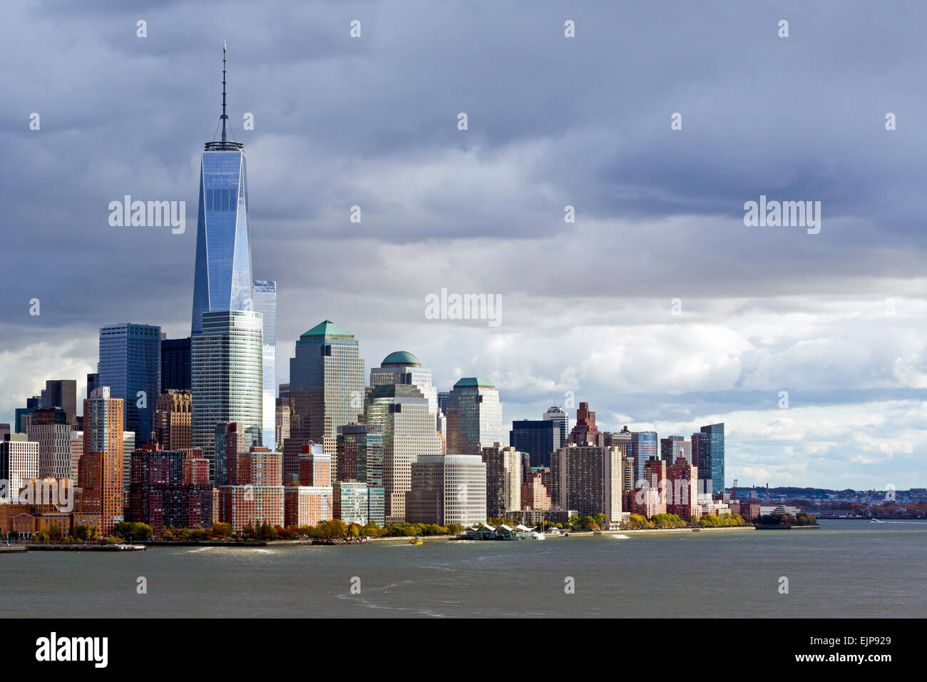 One World Trade Center and Downtown Manhattan across the Hudson River, New York, United States of America - Stock Image