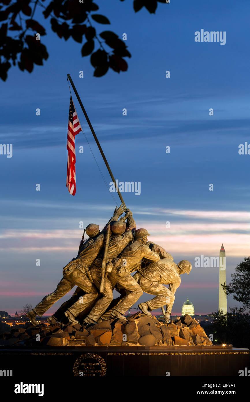 Statue of Iwo Jima U S Marine Corps Memorial, Arlington National Cemetery, Washington DC, USA - Stock Image