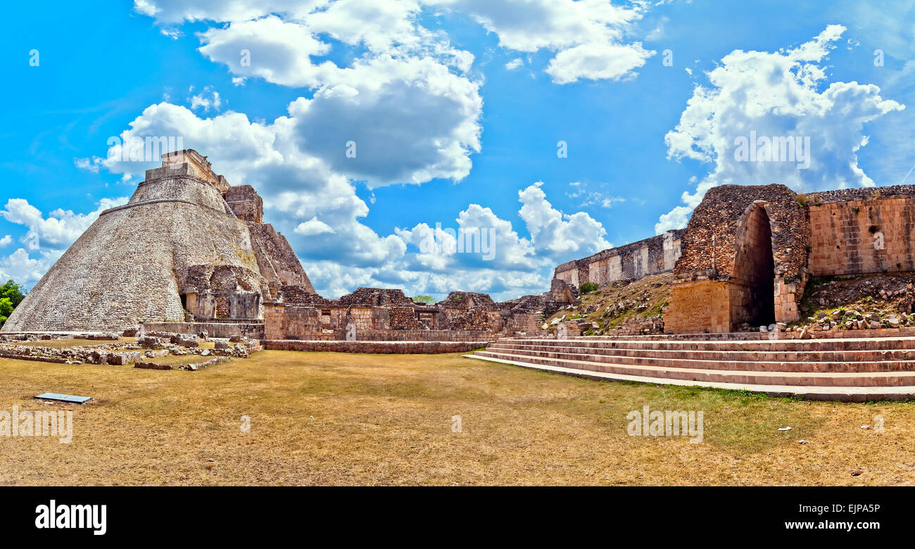 The Pyramid of the Magician is the central structure in the Maya ruin complex of Uxmal, Mexico Stock Photo