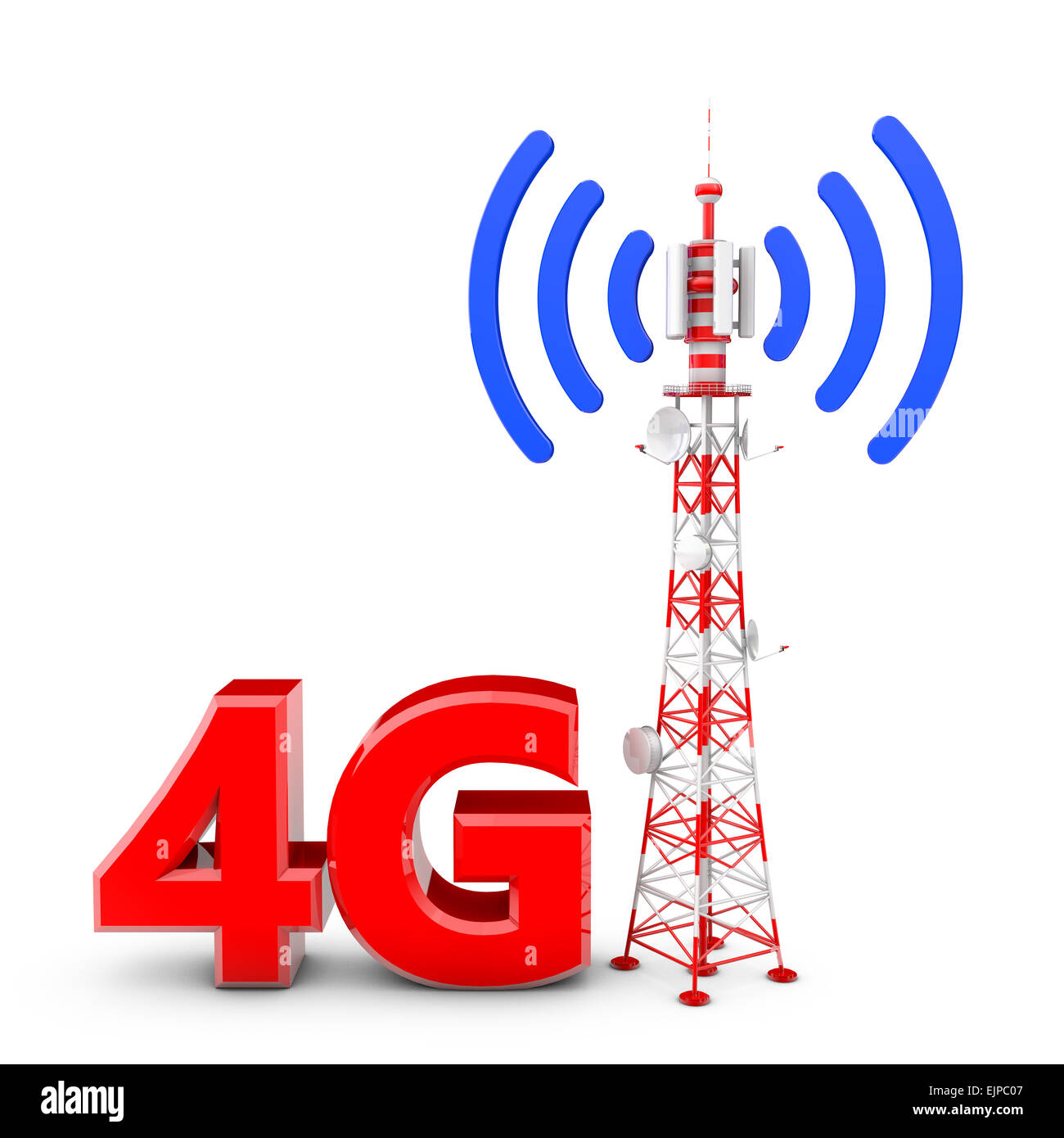 Telecommunication tower with the emitted signal and the red letters: 4G - Stock Image