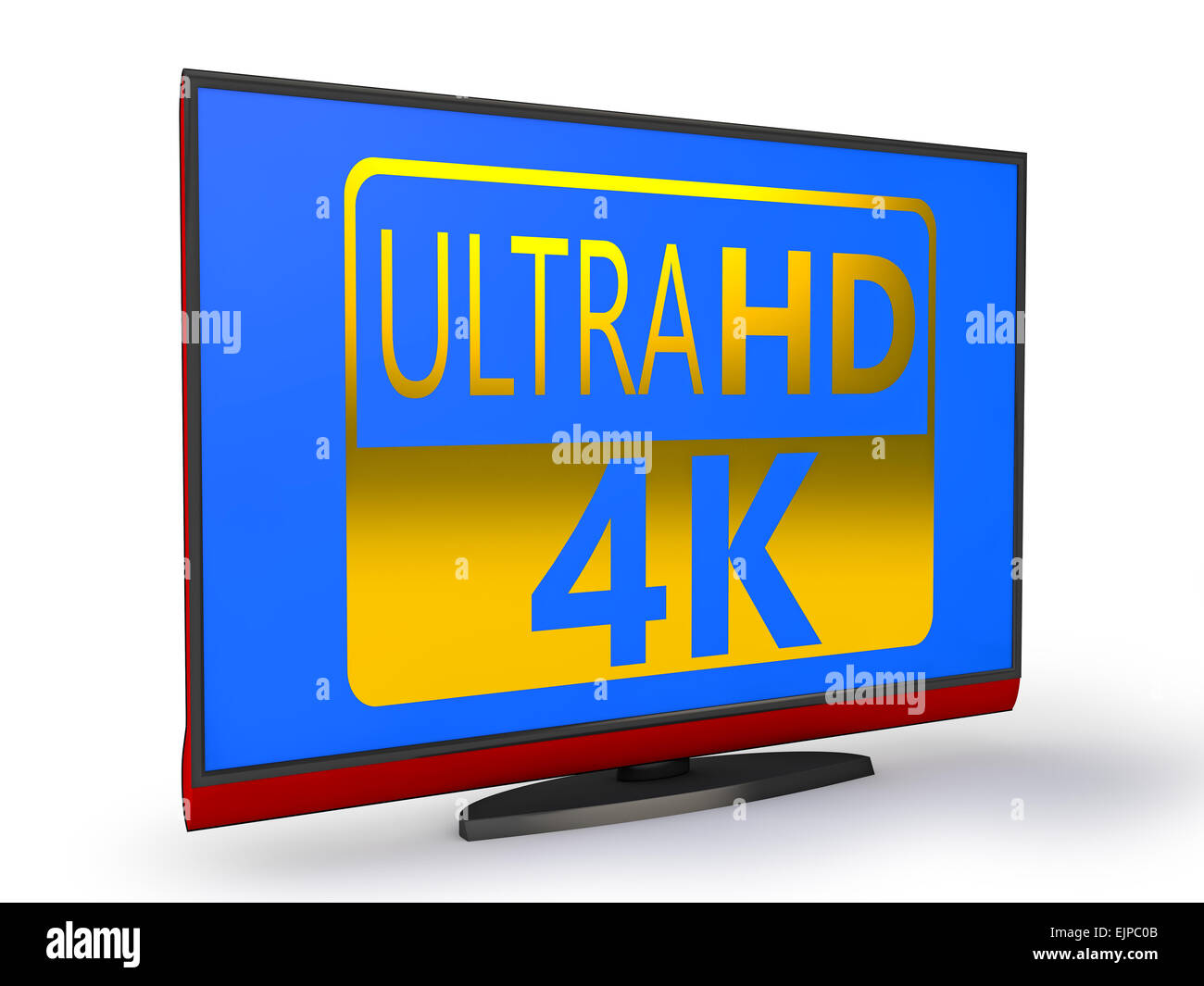 4K Ultra HD TV on a white background - Stock Image