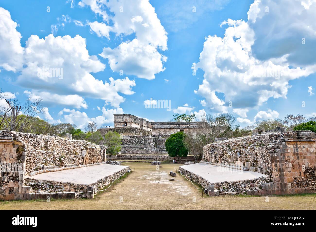Maya ruin complex of Uxmal, Mexico - Stock Image