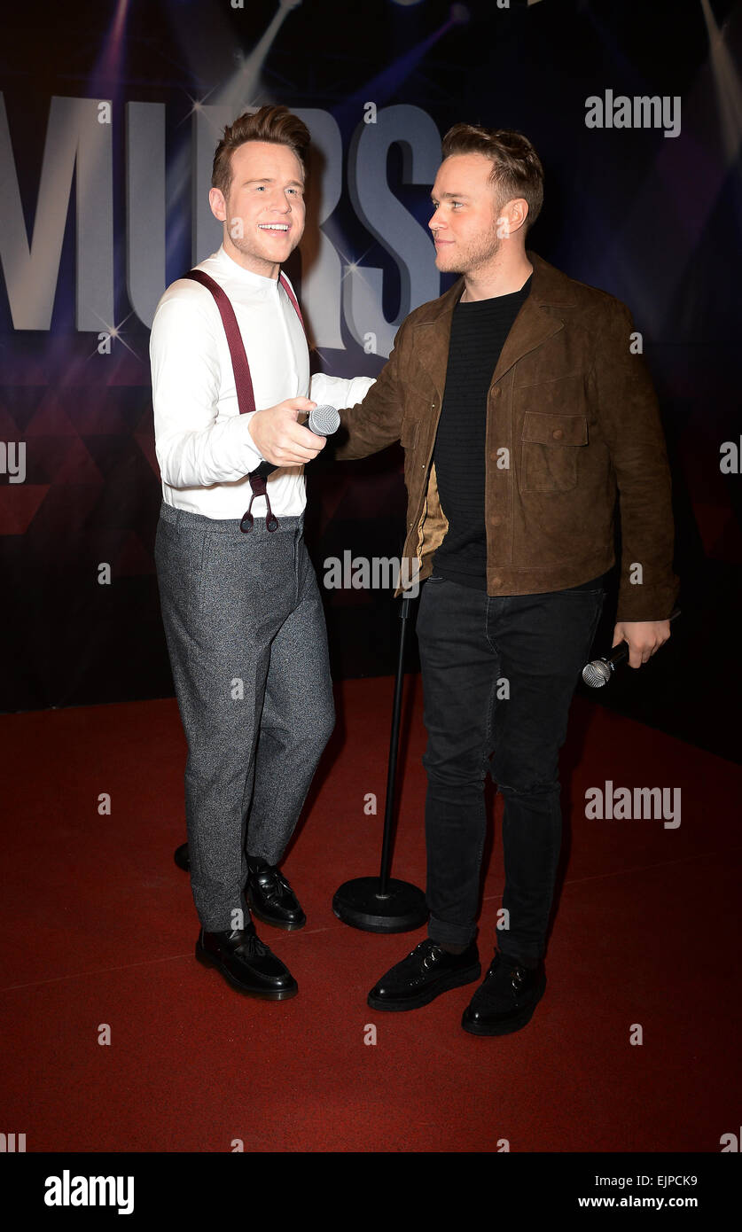 Blackpool, UK. 30th Mar, 2015. Olly Murs unveils a wax work model of himself at Madame Tussauds wax works, Blackpool, - Stock Image