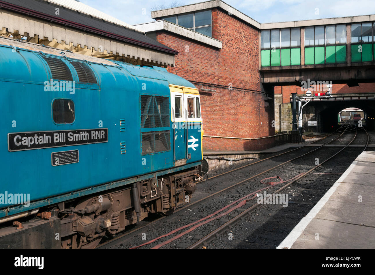 Class 33 diesel loco waiting to leave Bury railway station on the East Lancs Railway Stock Photo