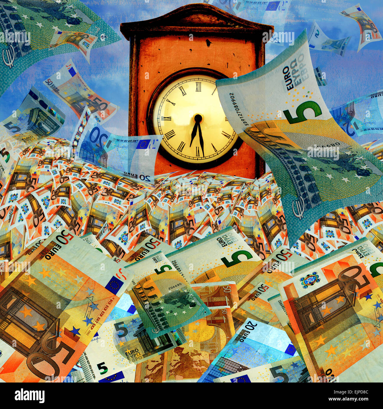 Time is money concept with many euro banknotes and big vintage clock. - Stock Image