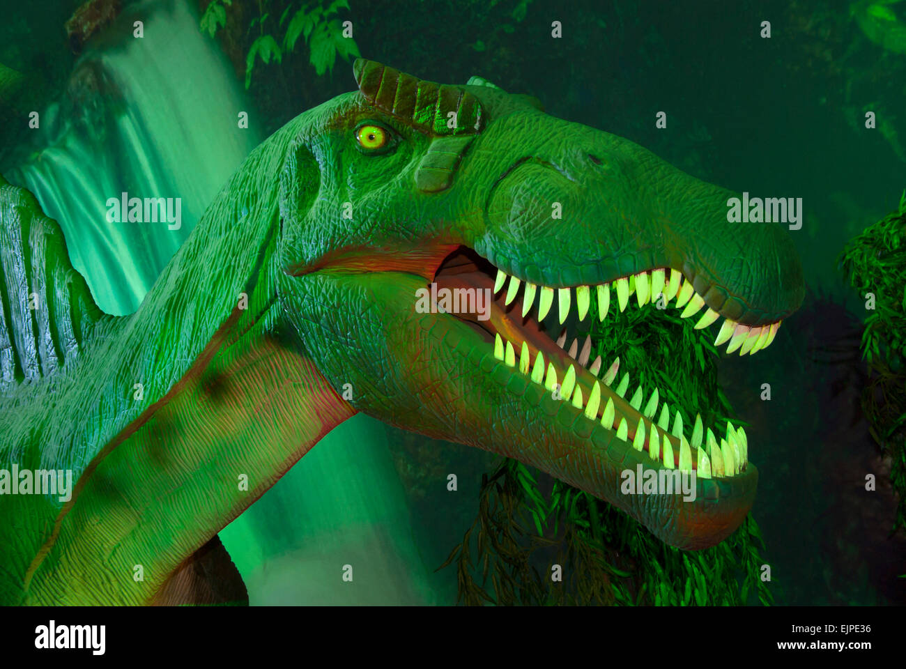 The dinosaur exhibit(Spinosaurus).Europe.Ukraine.Kharkov. - Stock Image