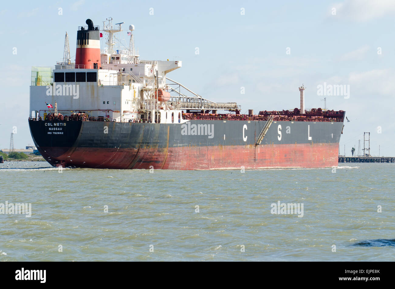 The CLS Metis a self discharging Bulk Carrier heading toward the Gulf of Mexico in the Corpus Christi ship channel - Stock Image