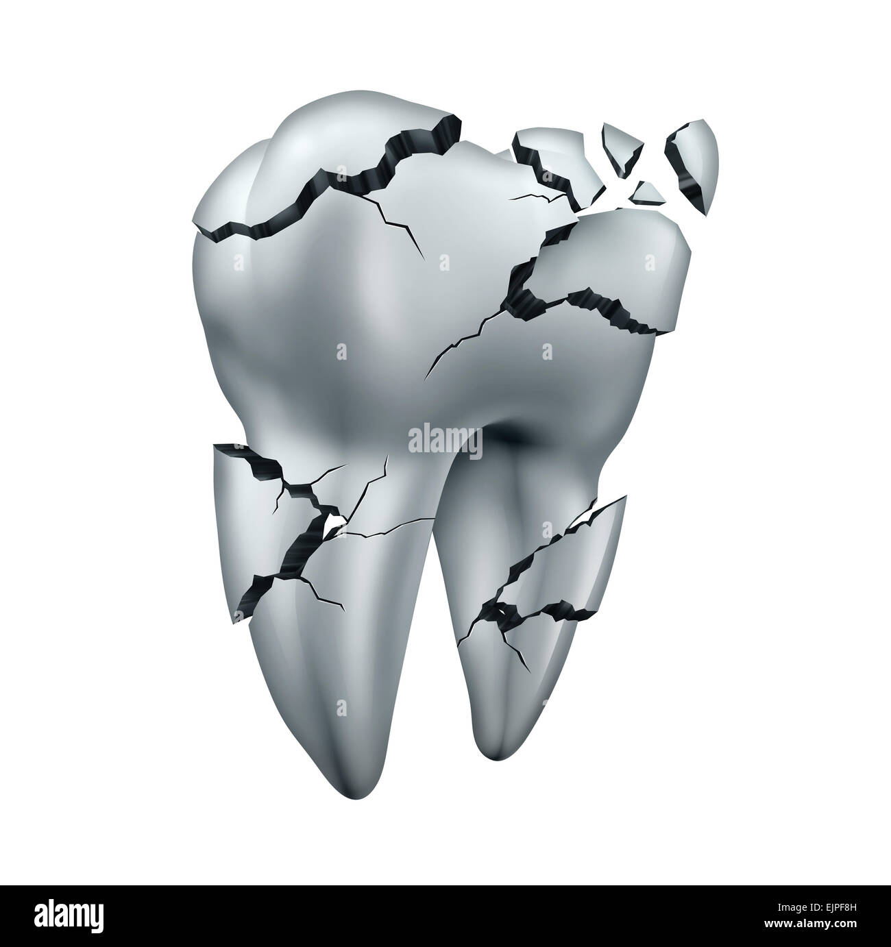 Broken tooth dental symbol and toothache dentistry concept as a single cracked damaged molar on an isolated white - Stock Image