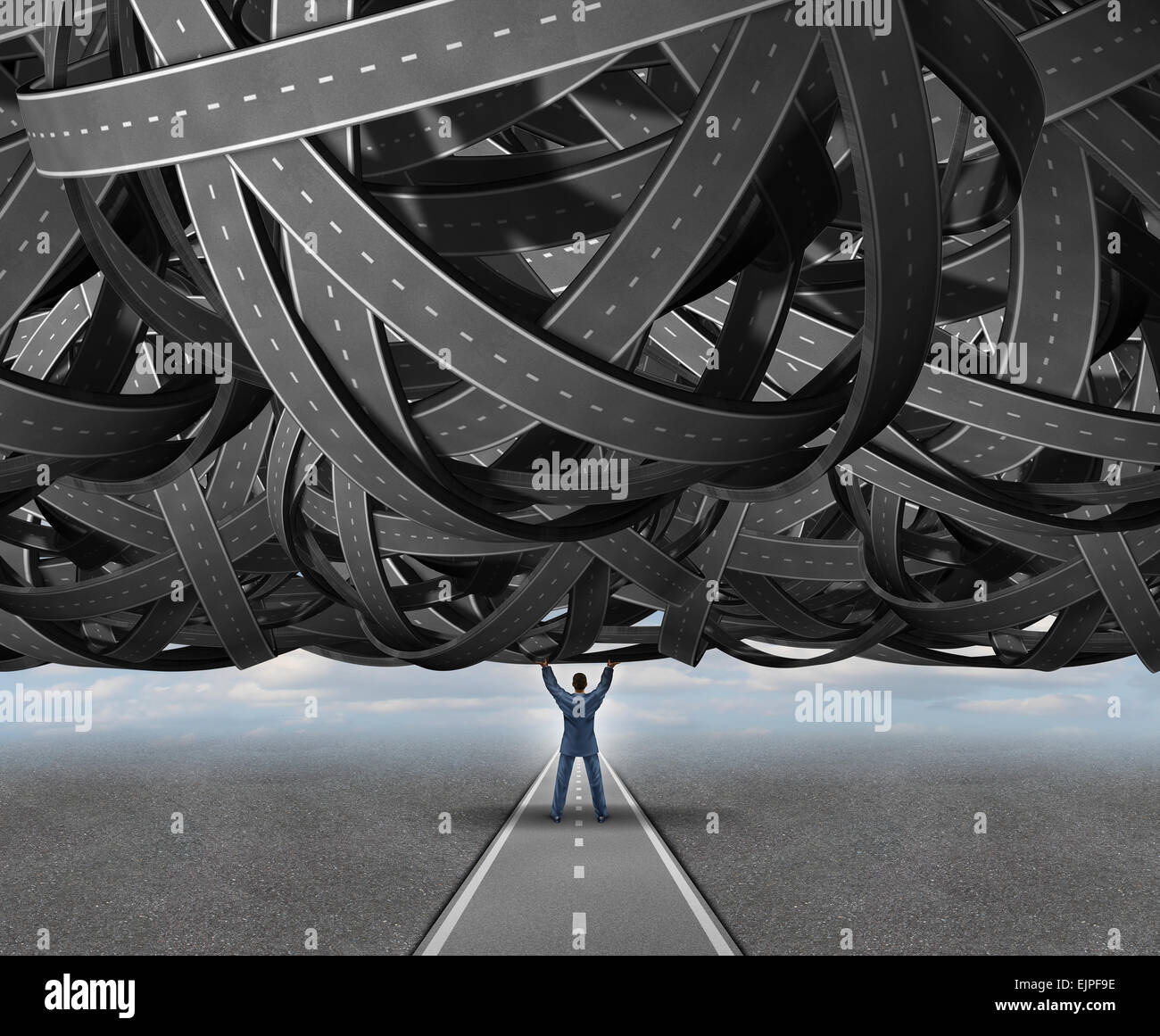 Solutions concept road metaphor as a businessperson lifting a massive group of tangled roads or highways to reveal - Stock Image
