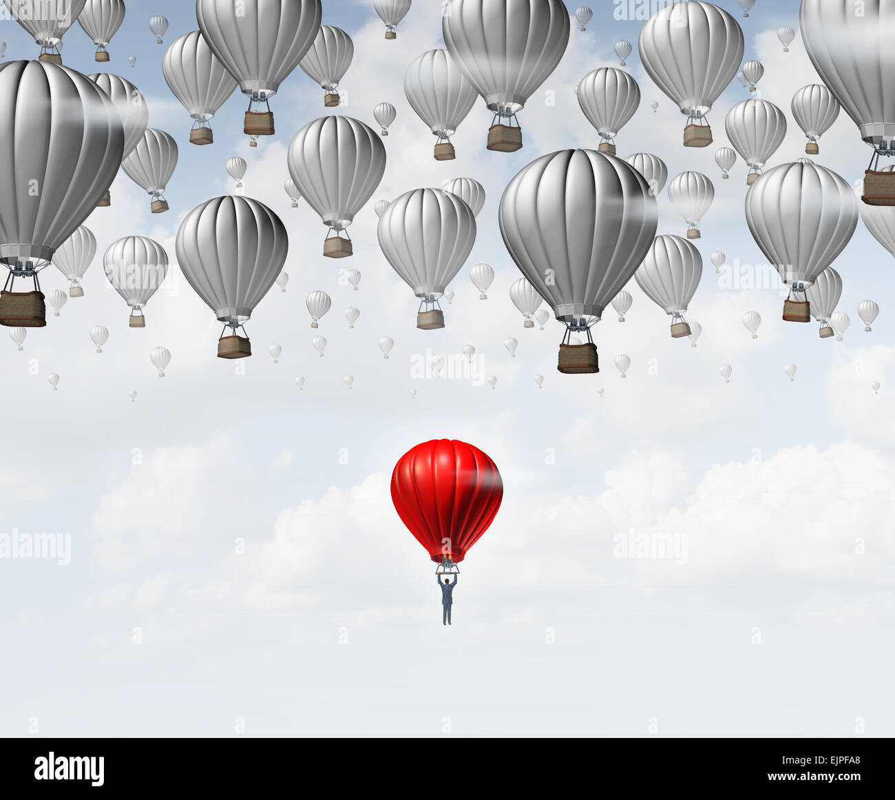 Late career as a businessman in a red hot air balloon trailing and falling behind a group of competitors as a business - Stock Image