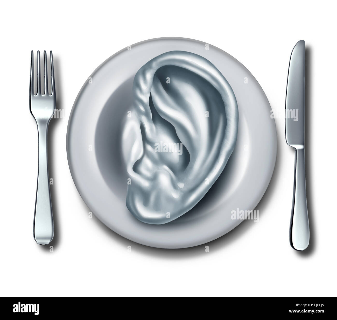 Diet advice and nutrition information food concept as a white dish shaped with an ear as a symbol of listening to - Stock Image