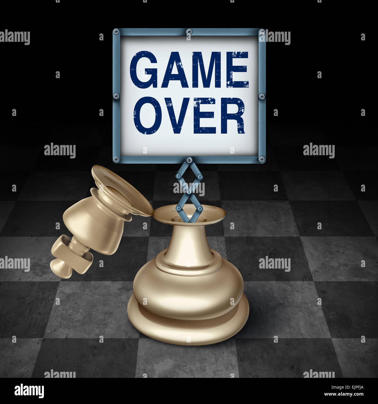 Game over business concept as an open king chess piece on a checkered board with a sign emerging with words representing - Stock Image