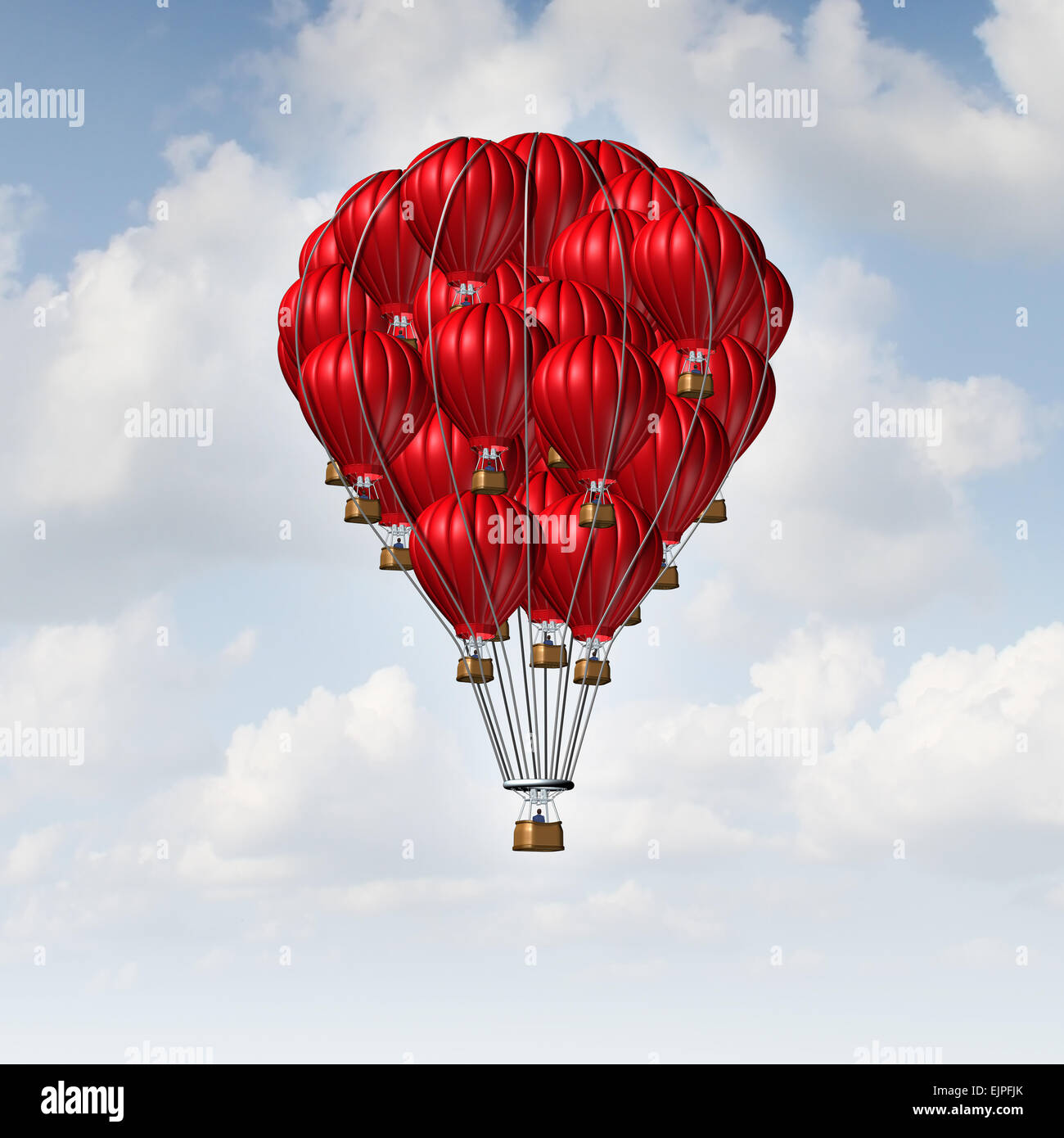 Group concept as a team of red hot air balloons joined together as a symbol for teamwork unity and collaboration - Stock Image