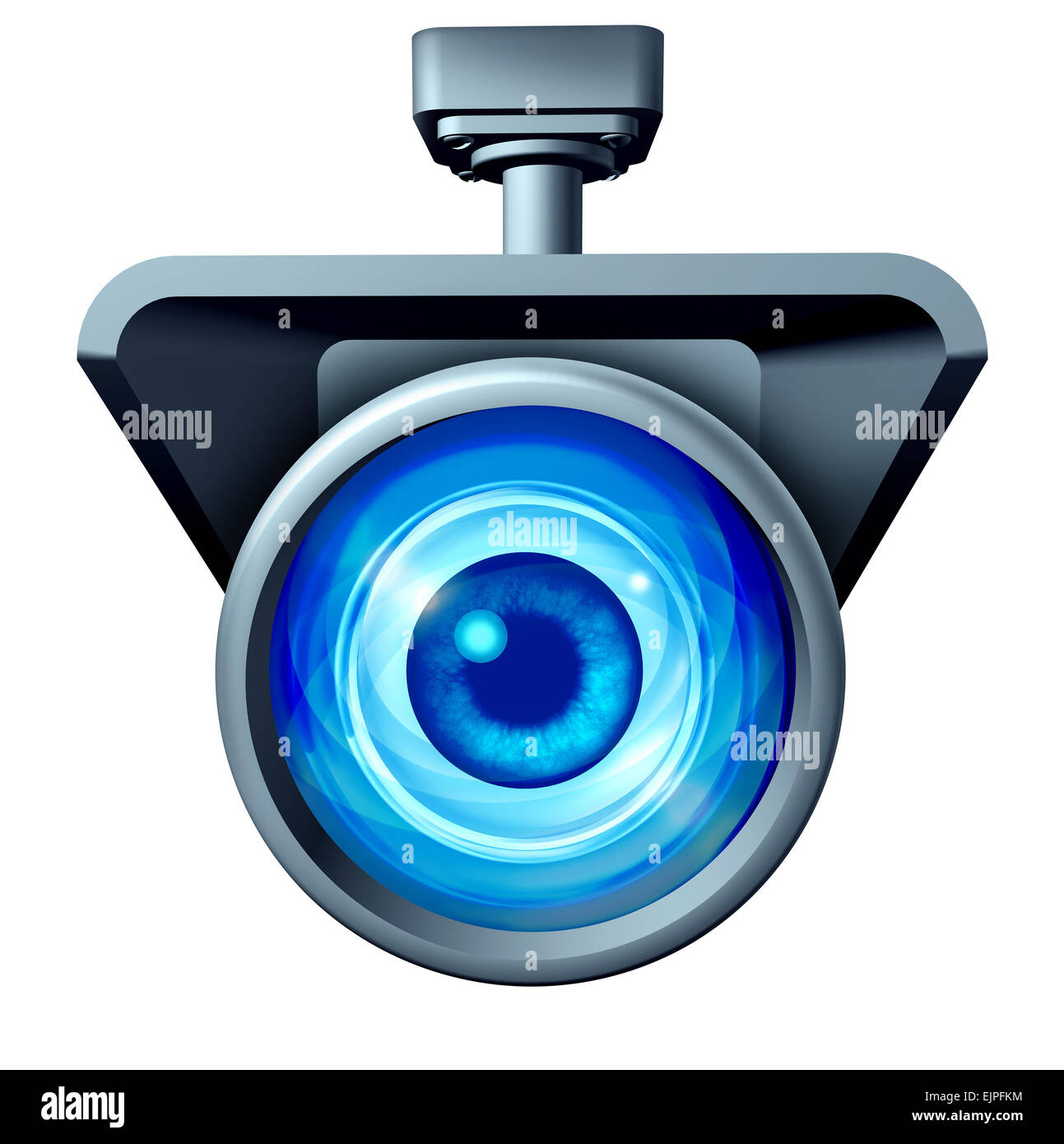 Video surveillance and big brother is watching concept as a security camera monitoring the public with a large eye - Stock Image