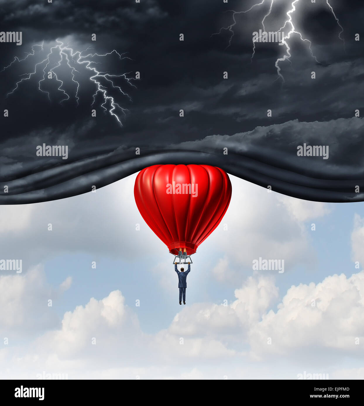 Positive outlook and recovery concept as a person or businessman riding a red hot air balloon lifting the dangerous - Stock Image