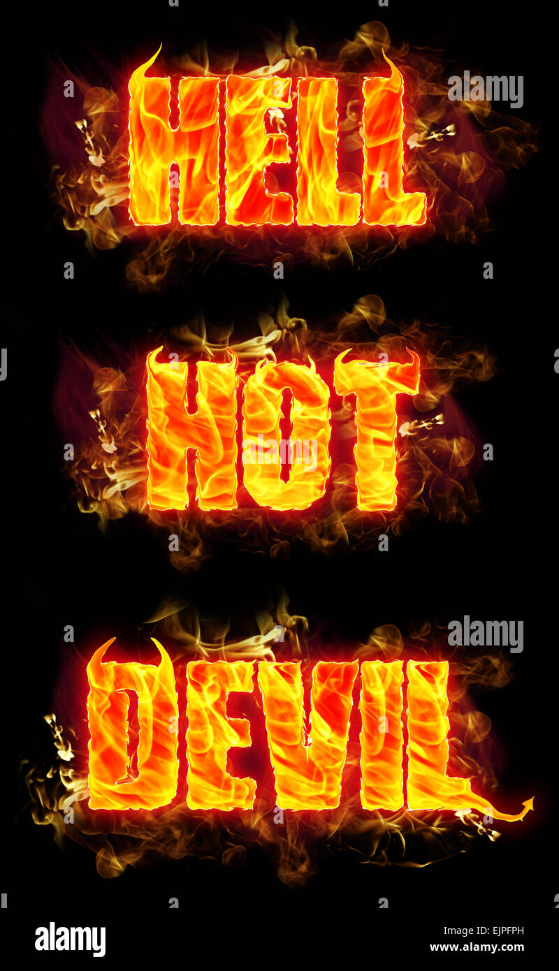 Fire hell hot devil text in burning flames. - Stock Image
