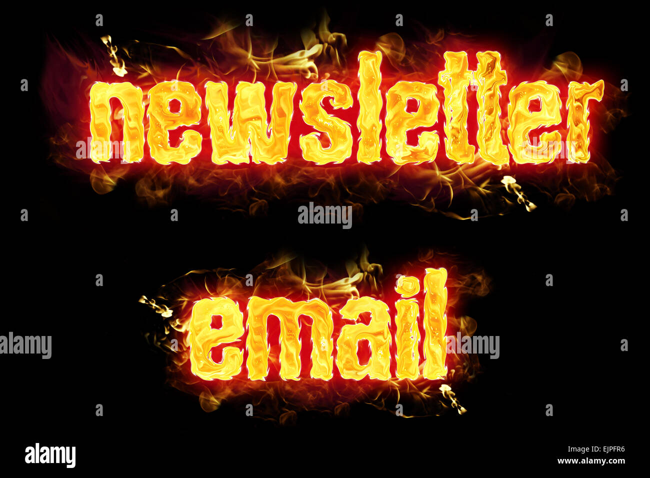 Fire newsletter email text badges with burning flames. - Stock Image