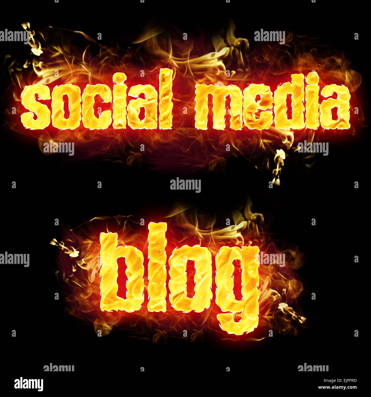 Fire social media blog text badge with burning flames. - Stock Image