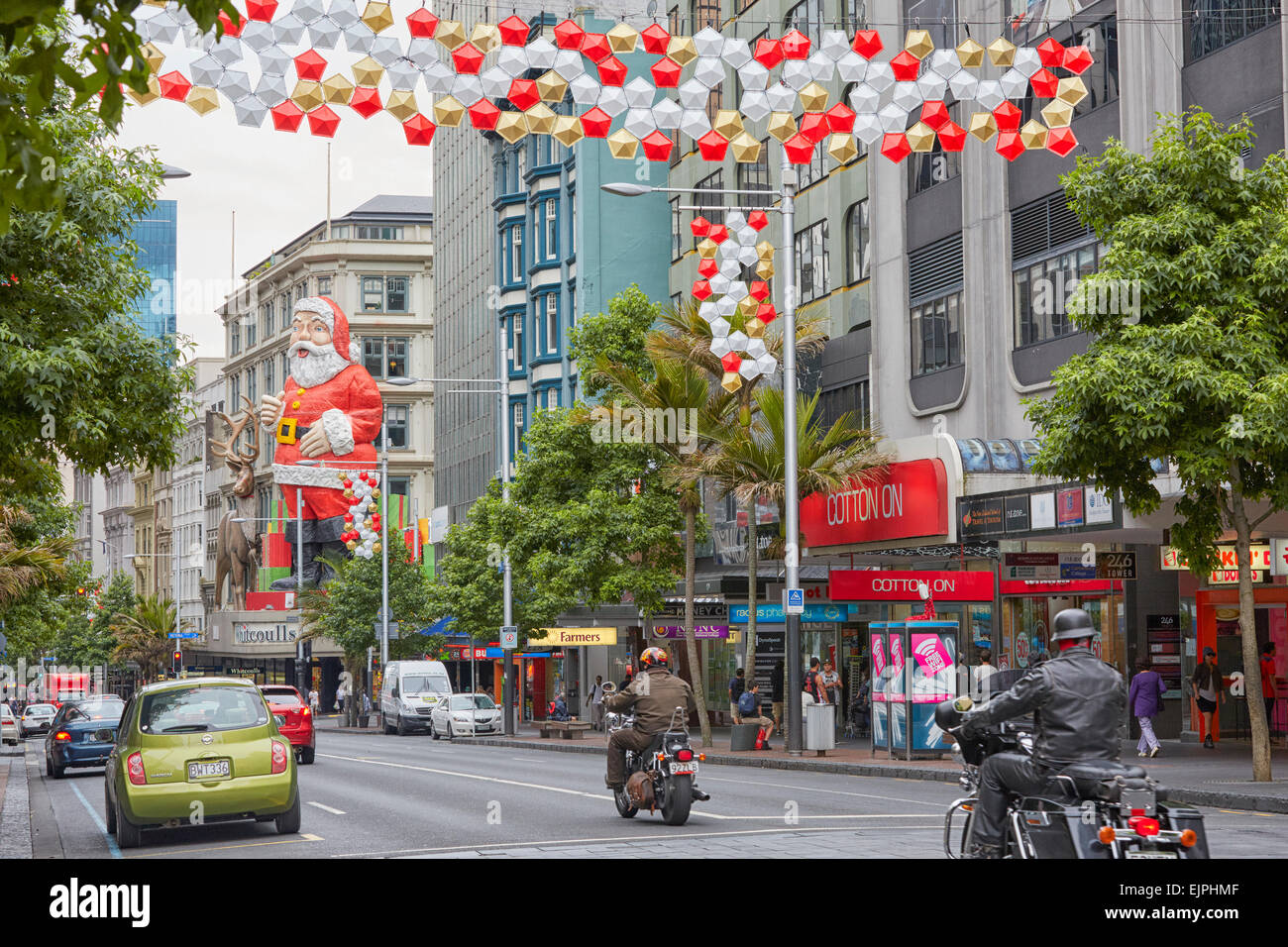 queen street christmas decorations auckland new zealand stock image - Queen Christmas Decorations