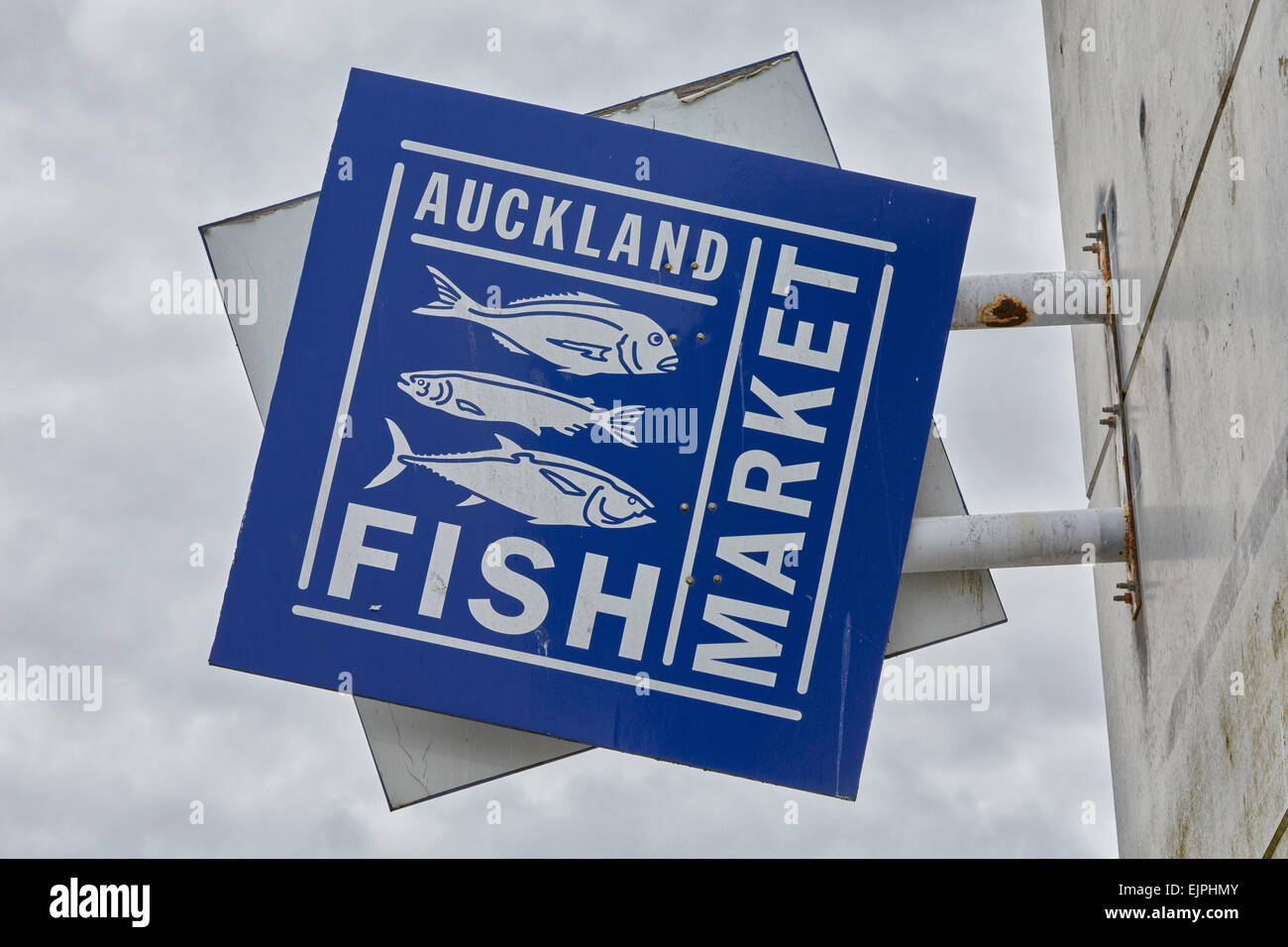 Auckland Fish Market sign, Auckland, North Island, New Zealand - Stock Image