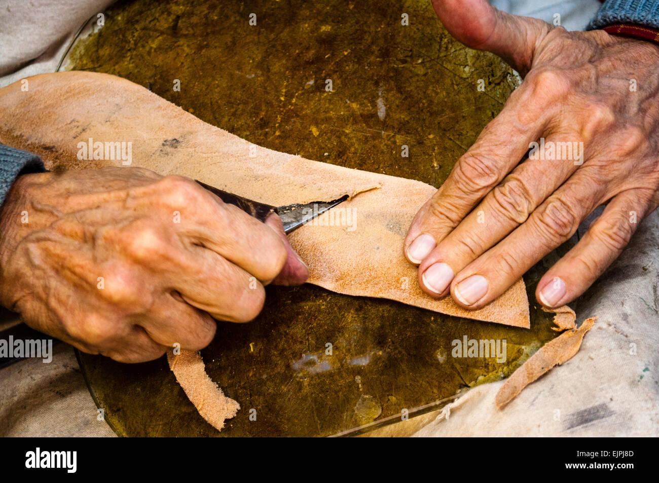 Shoemaker, craftsman Stock Photo