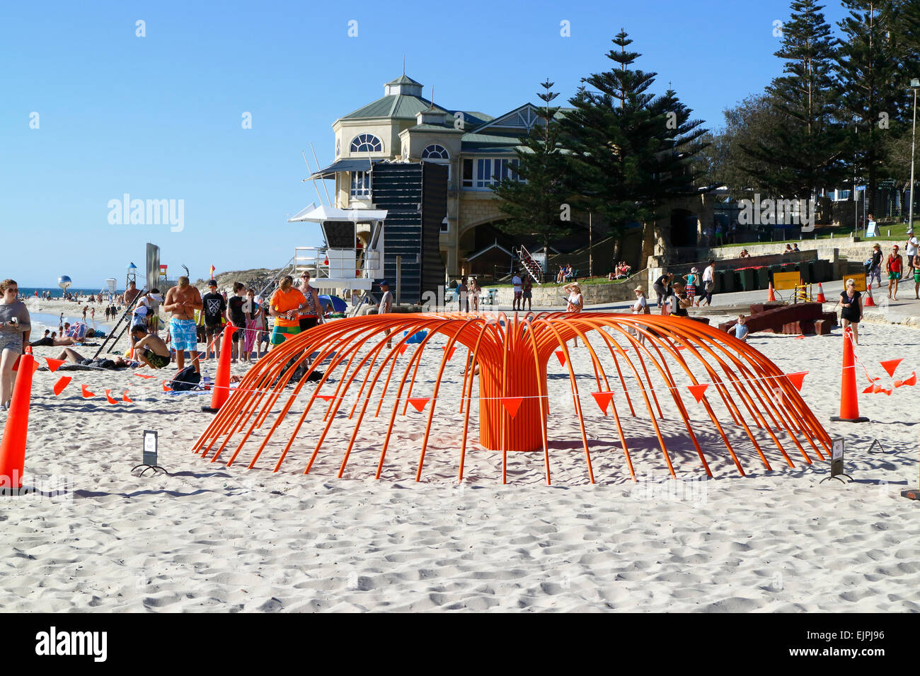 Artwork on display at the 2015 Sculpture By the Sea event. Cottesloe Beach, Perth, Western Australia. Stock Photo