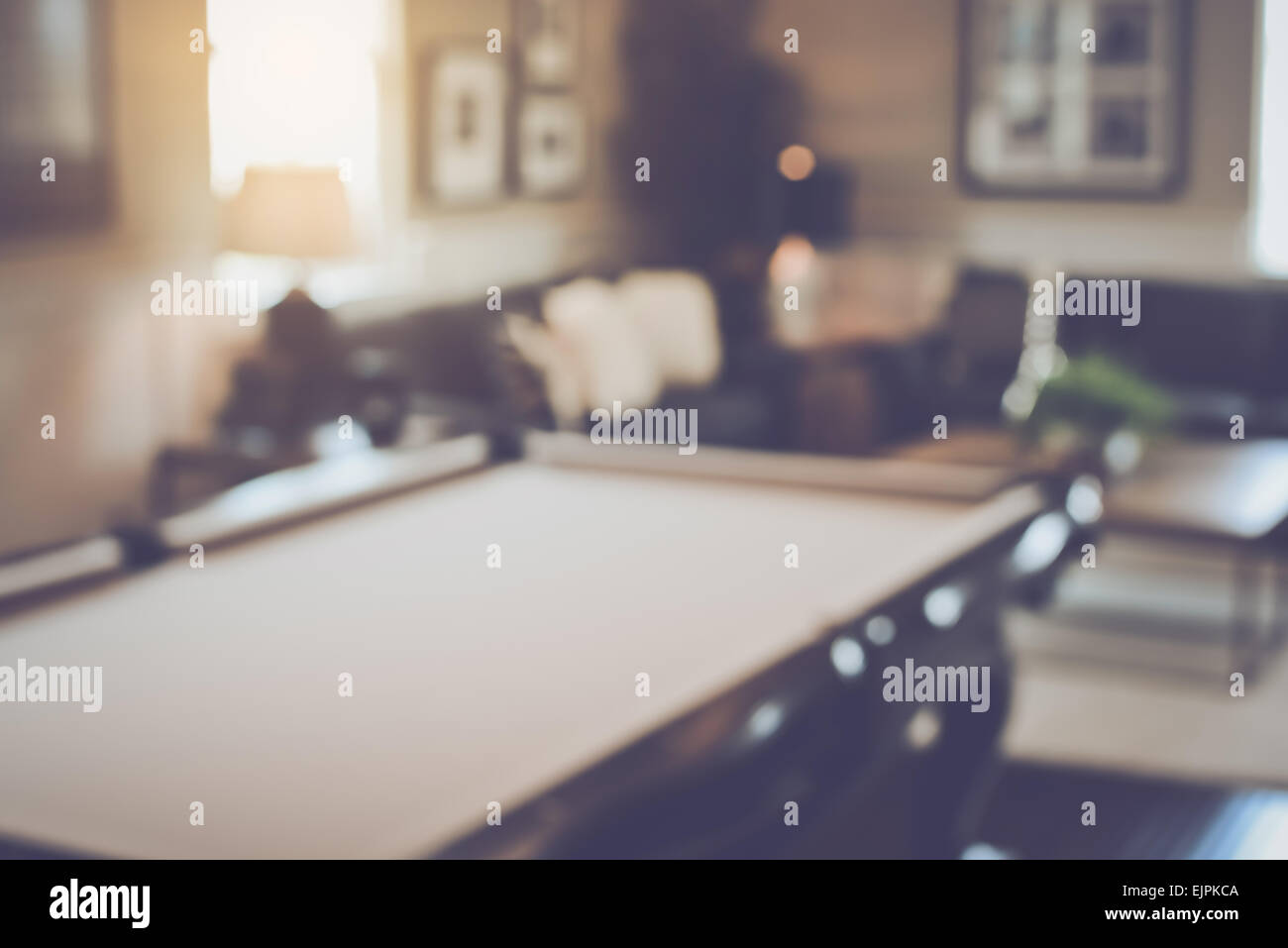 Blurred Living Room with Pool Table applying Retro Instagram Style Filter - Stock Image