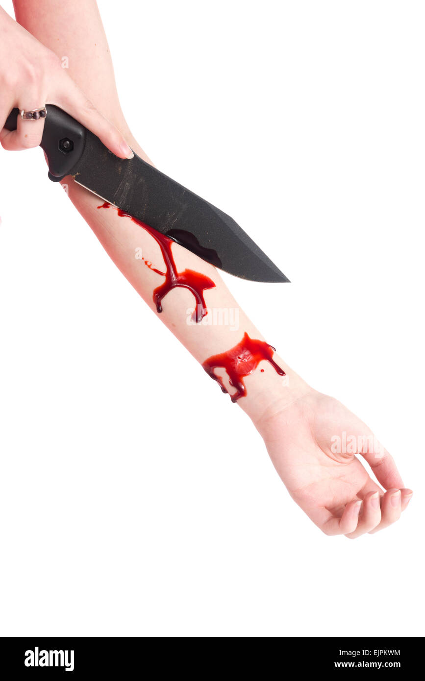Woman Cutting her Arm with Blood Using Knife Stock Photo