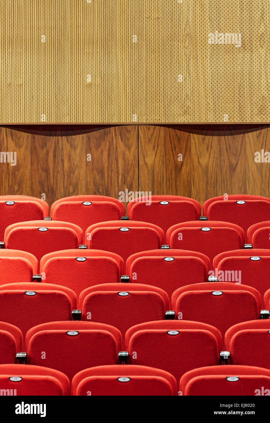 Detailed view of retractable bleachers and acoustic walnut baffle. Lady Eleanor Holles School, Hampton, United Kingdom. - Stock Image