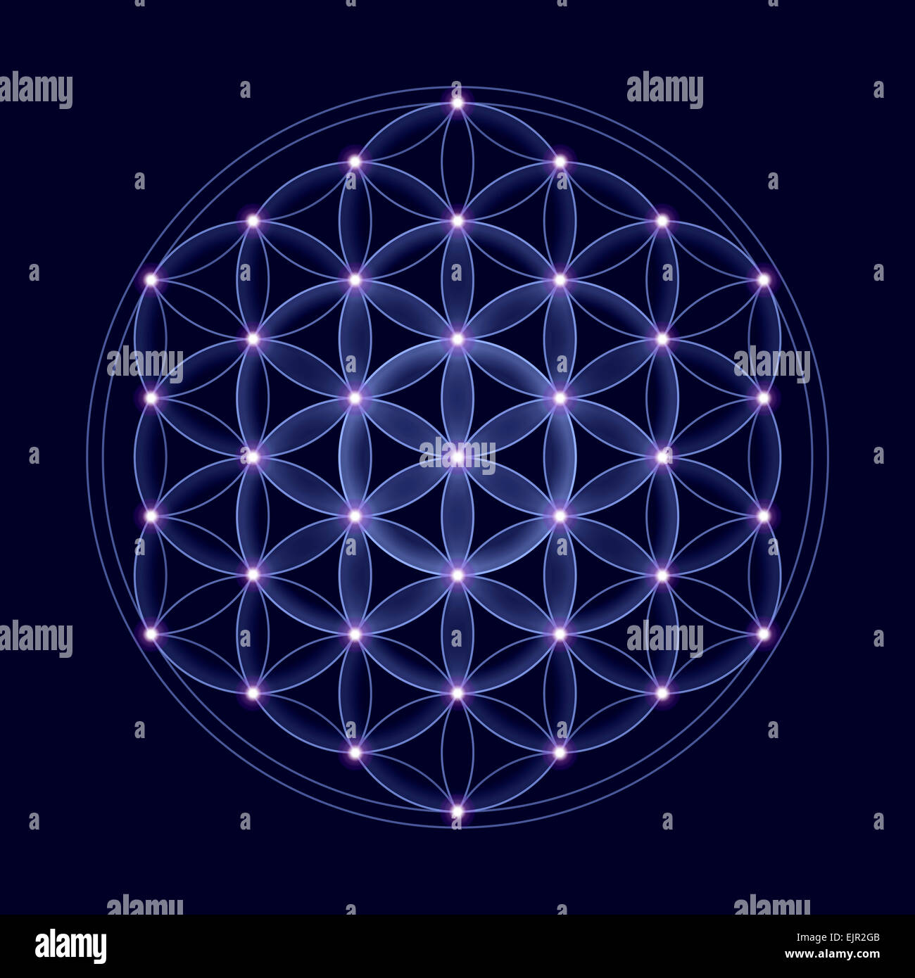 Cosmic Flower of Life with stars on dark blue background, a spiritual symbol and Sacred Geometry since ancient times. - Stock Image