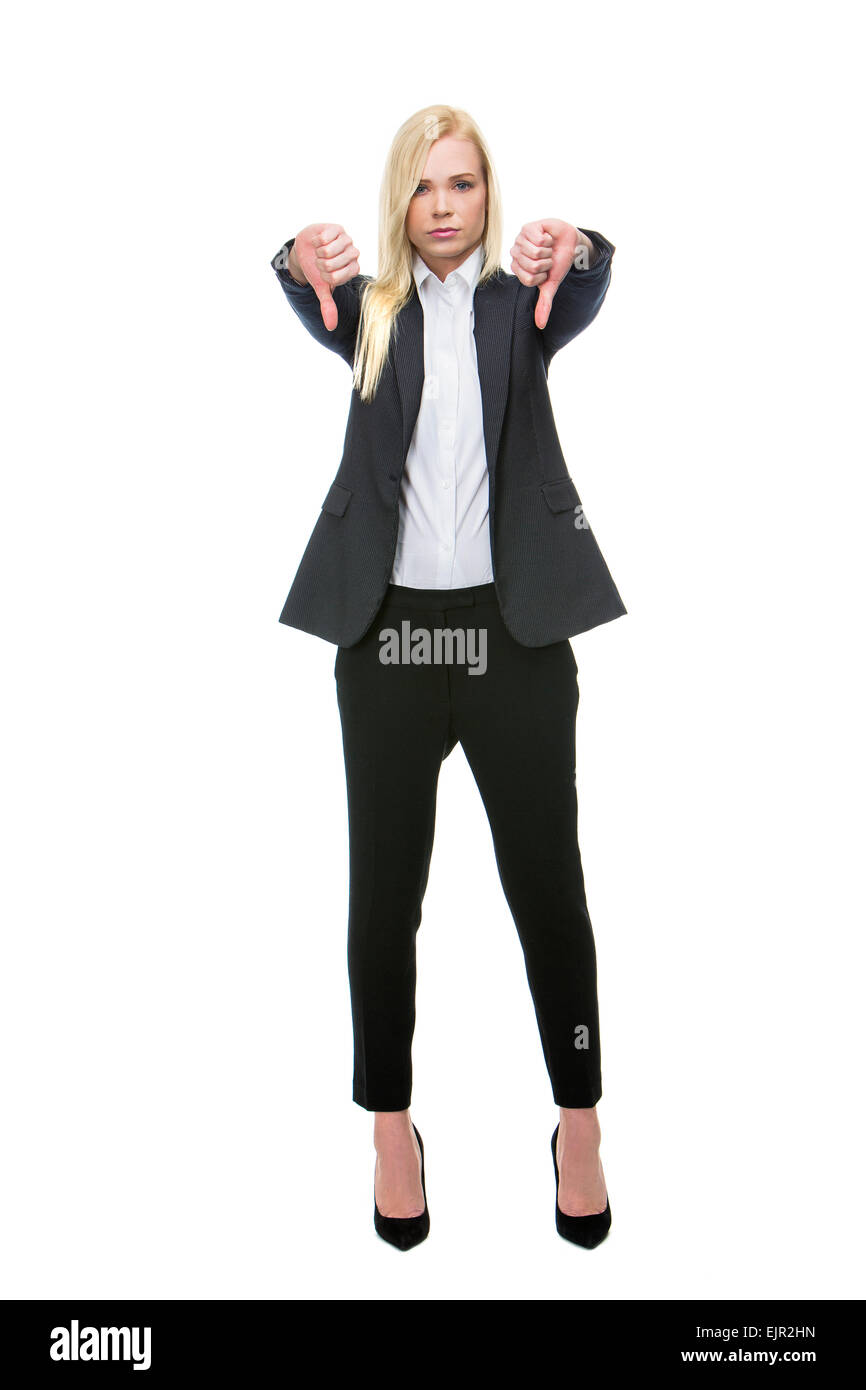 blonde businesswoman thumbs-down - Stock Image