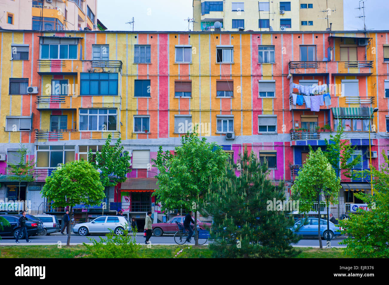 Colourful buildings in the center of Tirana, Albania - Stock Image
