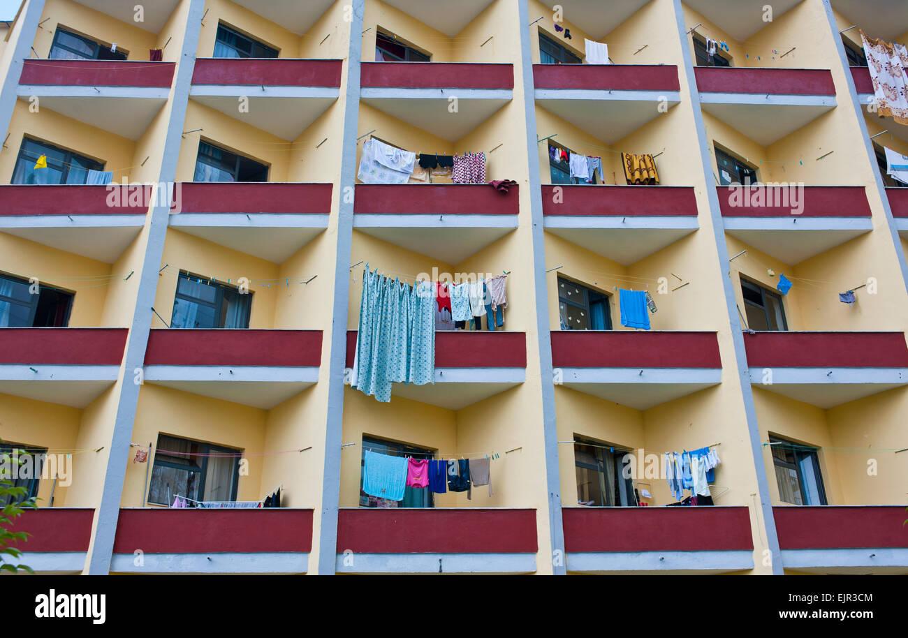 Balconies, center of Tirana, Albania - Stock Image