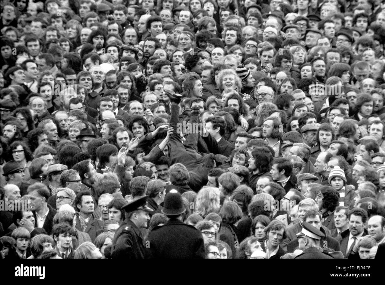 Arsenal v. Derby County F.A. Cup 5th round replay. Barrier gives way at Arsenal. A crush barrier gave way at the - Stock Image